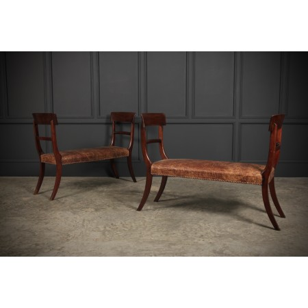 Pair Of Mahogany & Leather Window Seats