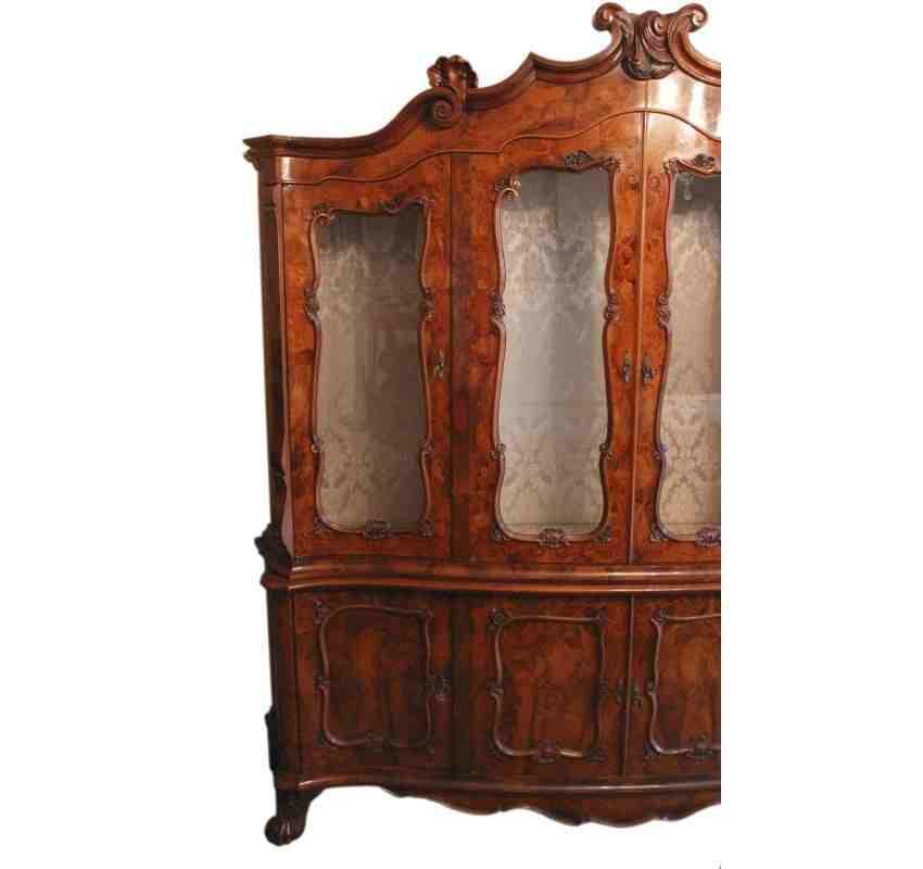 Old Book Display Case ~ Shaped walnut glazed bookcase display cabinet