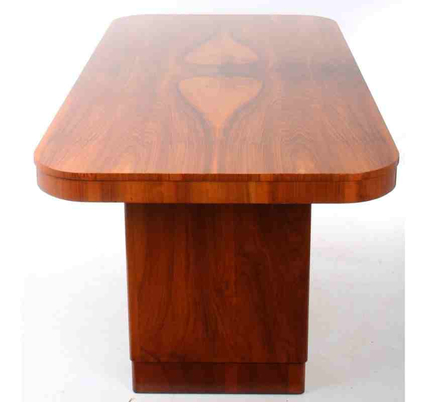 Walnut Art Deco Dining Suite Table And 8 Chairs