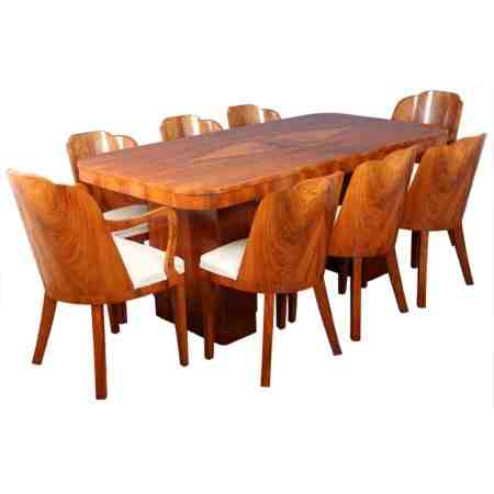 Walnut Art Deco Dining Suite (Table and 8 chairs)
