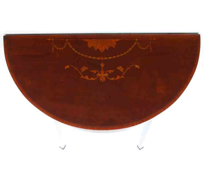 Marquetry demi lune mahogany card table for Chaise demi lune