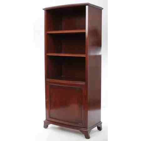 Slim Mahogany Bow Fronted Open Bookcase