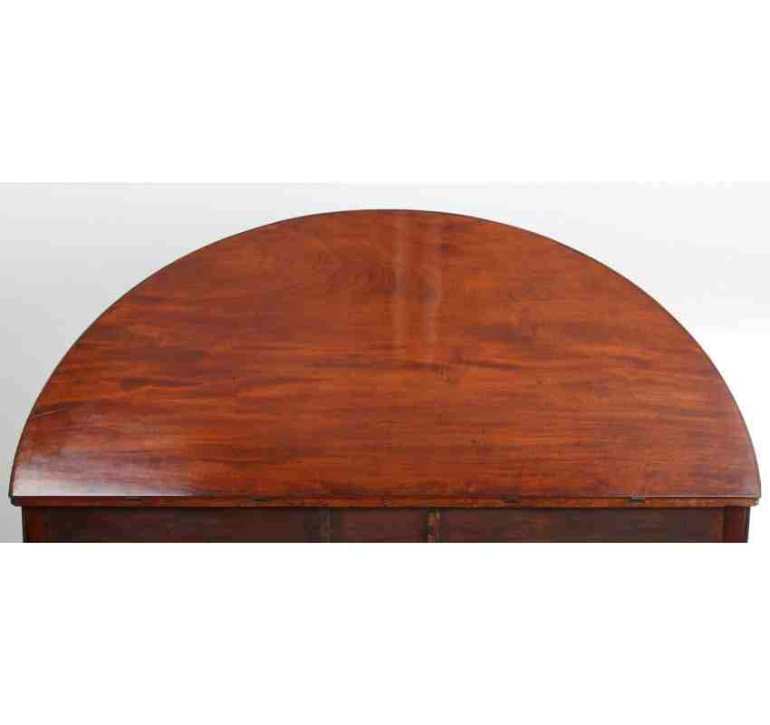 Rare 18th century demi lune mahogany fold over dining table for Chaise demi lune