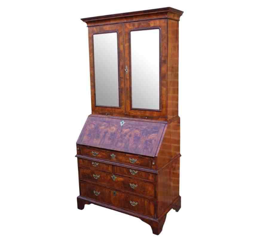 queen anne walnut bureau bookcase. Black Bedroom Furniture Sets. Home Design Ideas
