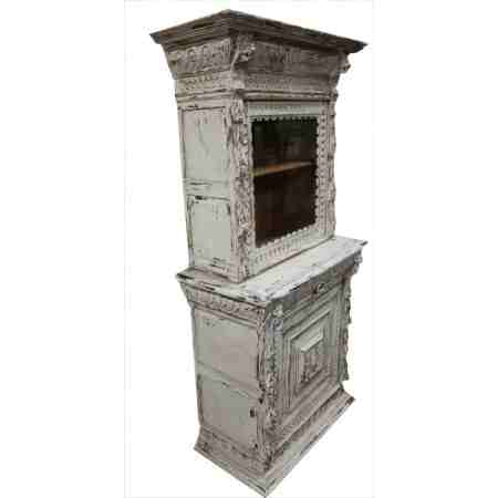 Carved Oak French Painted Bookcase / Cabinet
