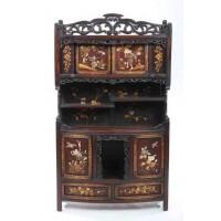 Japanese Meiji Period Carved Shodana Cabinet