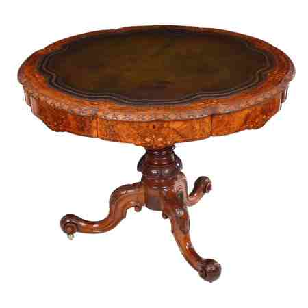 Exceptional Burr Walnut Marquetry Shaped Drum Table