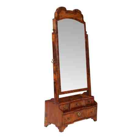 Early 18th Century Burr Walnut Toilet Mirror