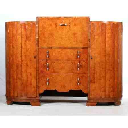 Art Deco Birds Eye Maple Sideboard / Drinks Cabinet