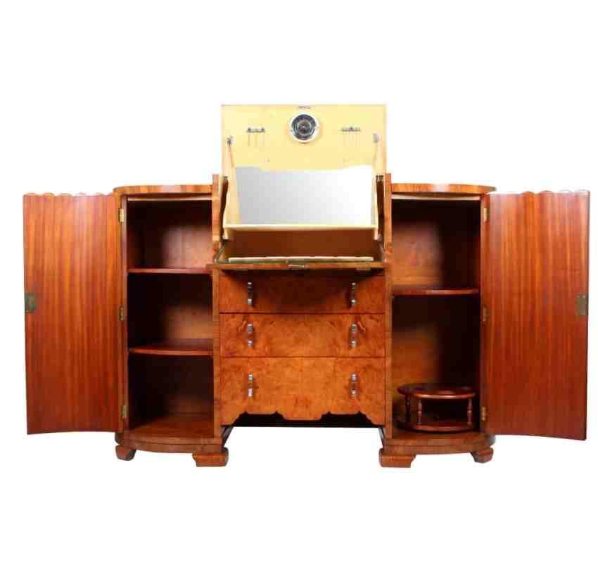 Art deco birds eye maple sideboard drinks cabinet for Birds eye maple kitchen cabinets