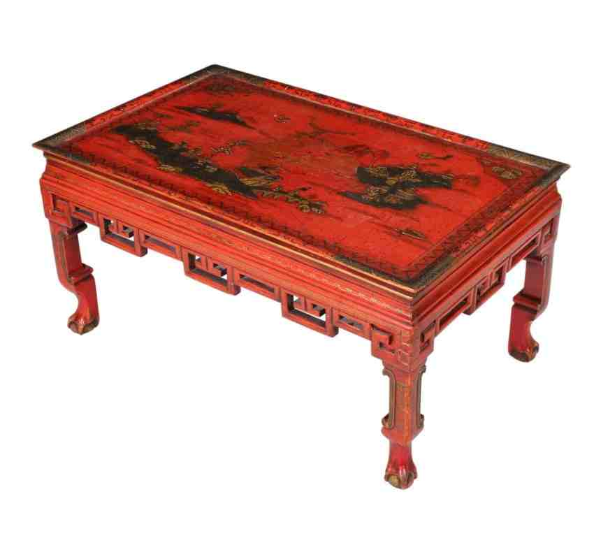 Red Chinoiserie Japanned Coffee Table