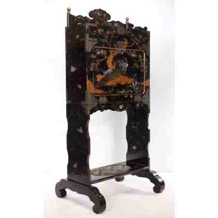 Black Lacquered Chinoiserie Cabinet on Stand