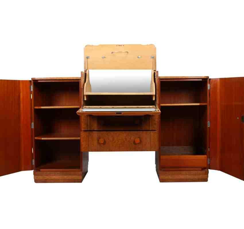 Art deco walnut sideboard cocktail cabinet for Birds eye maple kitchen cabinets